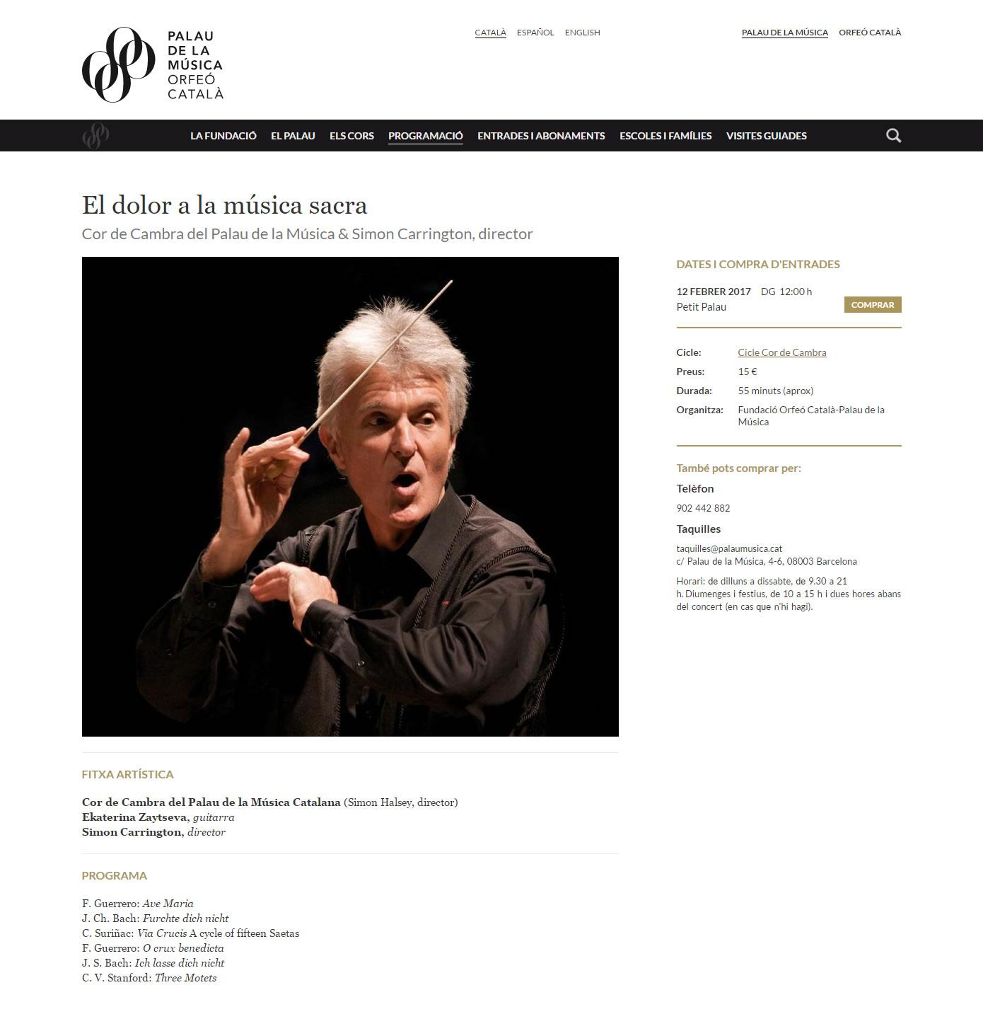 Palau de la Música Catalana - Ficha