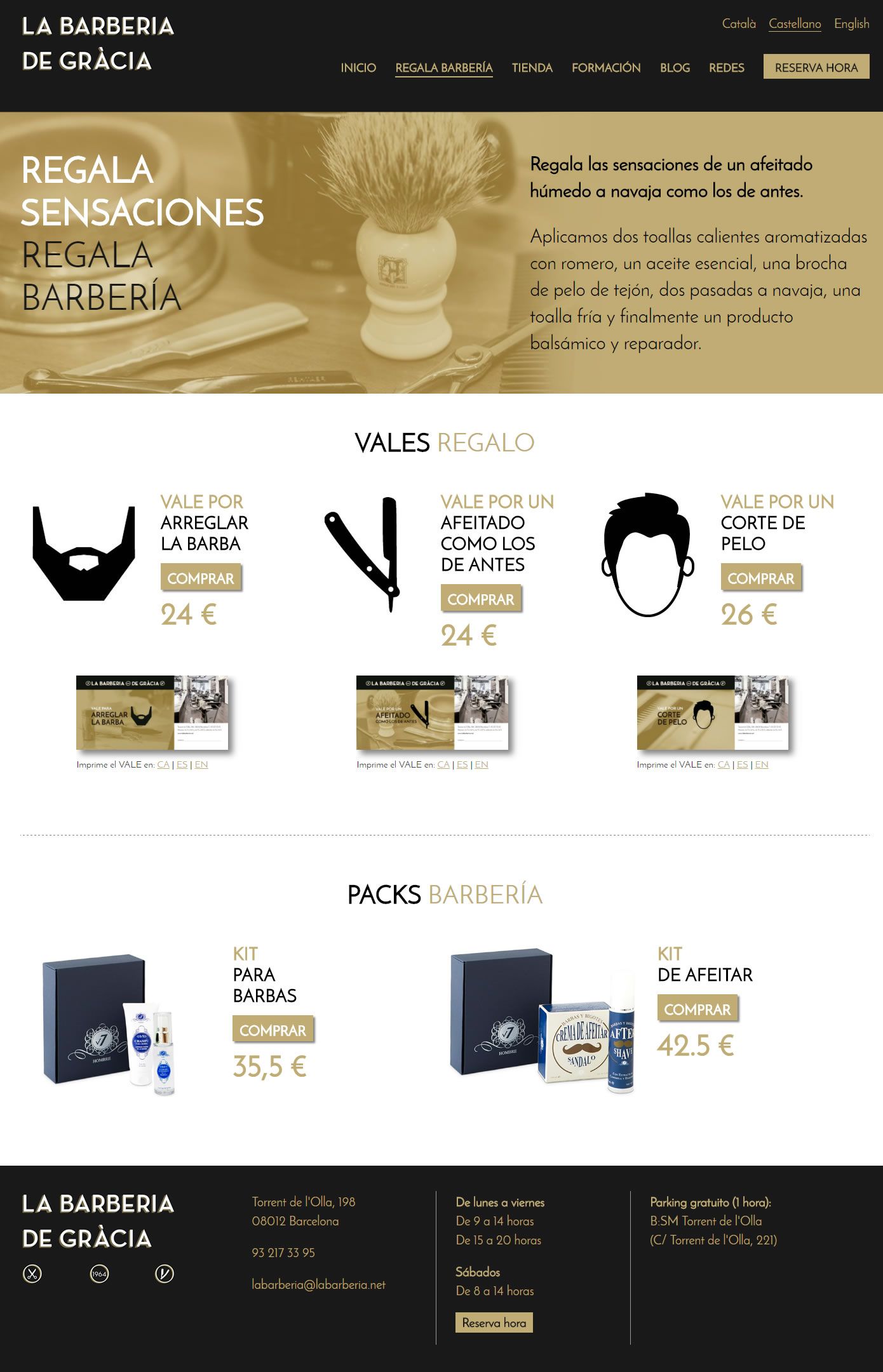 La Barberia de Gràcia - Vouchers and packs