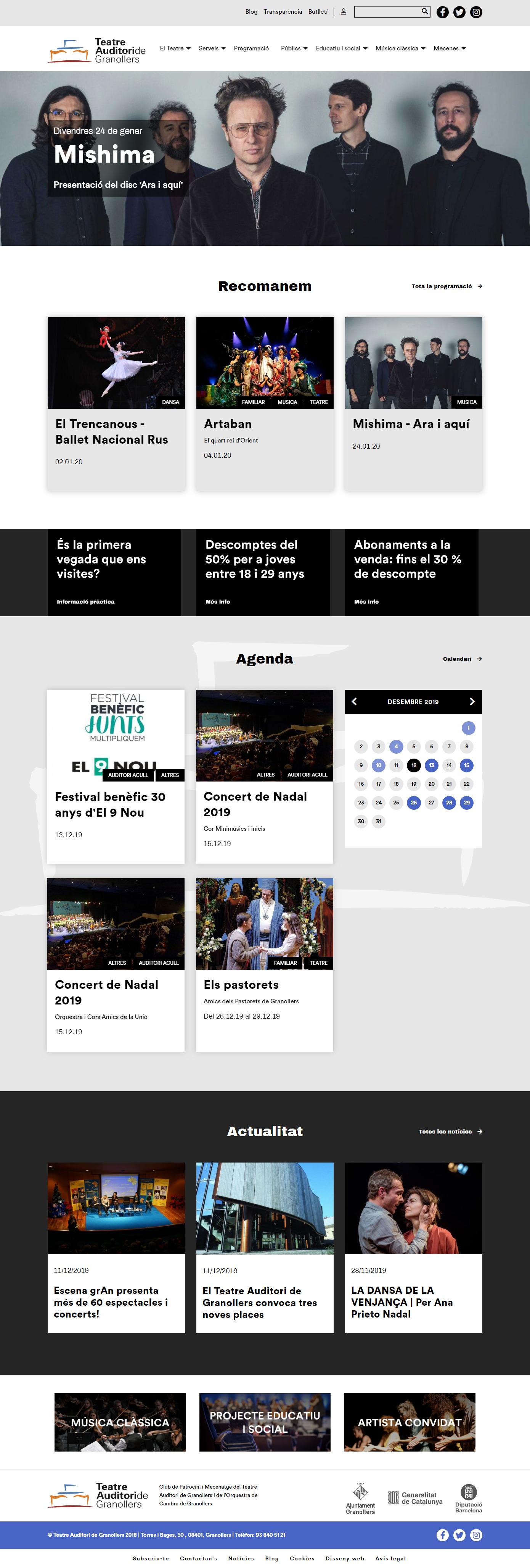 Teatre Auditori de Granollers - Homepage